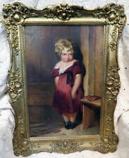ESTATE OIL ON CANVAS PAINTING OF A LITTLE GIRL ATTRIBUTED TO JOHN GEORGE BROWN
