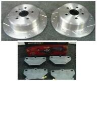 TOYOTA CELICA 1.8VVTI 140 190 1999-06 DRILLED GROOVED REAR BRAKE DISC MINTEX PAD
