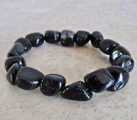 Black Tourmaline Bracelet Tumbled Stone Natural Gemstone Healing Rock Beads Reik