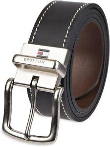 Tommy Hilfiger Men's 38MM Reversible Belt with Contrast Stitch Black Brown