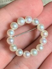 Antique Sterling Silver Pearl Pin Brooch Very Clean Estate Fresh!! NR
