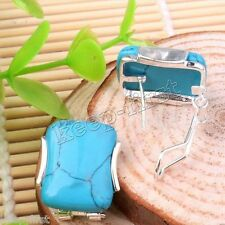Sterling Silver Leverback Stud Earrings Women's Fashion Natural Blue Turquoise
