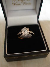 LADYS 18 CARAT & PLATINUM DIAMOND SET EDWARDIAN FANCY RING MADE IN ENGLAND
