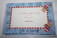 """New 10 Holiday Photo Cards """"Happy Holidays"""" Let It Snow - Holds 4x6 Photo"""