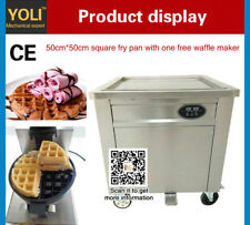 with one waffle maker + 50*50cm square biggest pan thail fried ice cream machine
