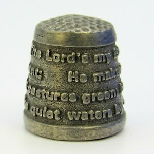 COLLECTABLE PEWTER THIMBLE 'THE LORD'S MY SHEPHERD'