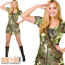 Sexy Army Girl Ladies Uniform Fancy Dress Womens Military Adults Costume Outfit
