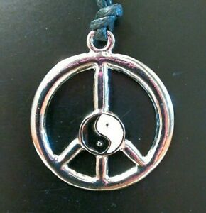 Peace Sign Silver Yin Yang Necklace Hippie 60s 70s Bohemian Taoism