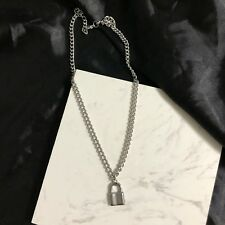 Stainless Steel Curb Chain Necklace Lock Pendant Hand Made