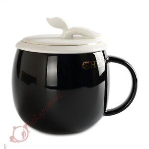 Restorative Black Ceramic Porcelain Tea Cup Coffee Mug lid Infuser Filter 300ml