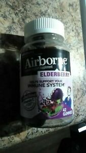 🍇Airborne~Elderberry~Natural~42 Gummies~Vitamin C & Zinc~Immune Support~Ages 4+