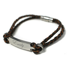Womens Personalised Engraved Leather & Stainless Steel Identity Bracelet Gift
