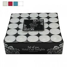 100 Tea Lights Set White Unscented Candles