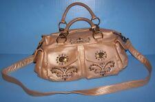 Isabella Fiore Gold Leather Convertible Satchel Stud Crossbody Handbag Purse NEW