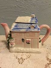 Cottage Snowman Christmas Tree Teapot