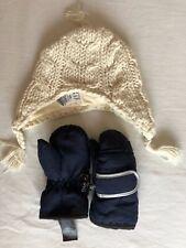 GAP 6-12 Mths Cream Knitted Hat & NEXT Thinsulate Navy Mittens