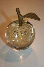 APPLE PAPERWEIGHT HAND MADE CRYSTAL CLEAR BUBBLE with BRASS STEM & LEAF