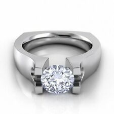 1.50Ct Round Diamond Solitaire Men's Engagement Wedding Ring 14K White Gold Over