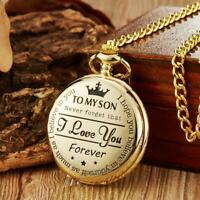 """""""TO MY SON"""" Vintage Elegant Herrenuhr Taschenuhr Pocket Watch Sprungdeckel"""