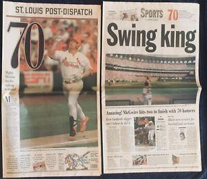 9.28.1998 MARK MCGWIRE St Louis Cardinals Dispatch 70 Homeruns NEWSPAPER