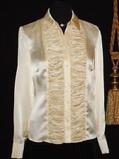 USA M 38 Pale Gold Silk Satin Blouse Deeply Ruched Front L/S NOS