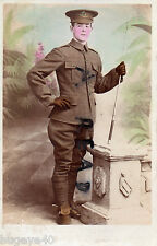 WW1 Driver ? Royal Artillery wearing riding breeches & spurs colorised hand tint