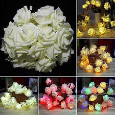 LED Rose Flower Christmas Wedding Party Fairy String Lights Lamp Garden Decor