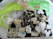 Lot Floral Crafts Decorating Arrangements Pearl Sprays w Silk & Satin Leaves