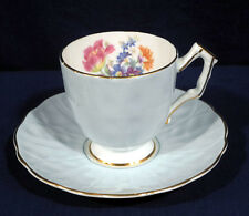 Aynsley Fine Bone China Demitasse Cup and Saucer Set Light or Pale Blue + Floral