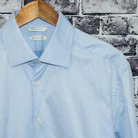 SUITSUPPLY Slim Men's Button Front Dress Shirt Blue Egyptian Cotton Size 17 1/2