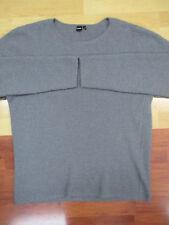 ISAORA Gray Waffle Knit Merino Wool Crewneck Sweater - Large