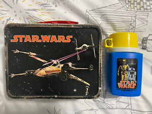 Vintage 1977 Original Star Wars Tin Lunch Box WITH Thermos