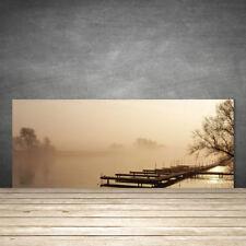 Crédence de cuisine en verre Panneau 125x50 Paysage Pont Eau Brouillard