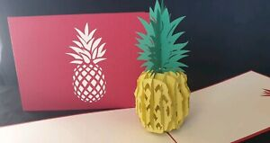 Special 3D Pop Up Pineapple Fruit.(Mother's day,Birthday, Get Well, Blank Card)