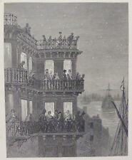 """Doré-Londres; 'Greenwich-en la temporada"""", antiguo grabado en madera, C.1870"""