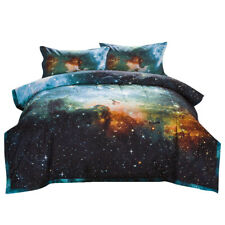 Reversible Quilted Comforter Set Galaxies Outer Space Sky Printing Bedding Sets