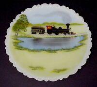 Fenton Glass W & A RR Train Plate Hand Painted On Custard Glass Original Labels
