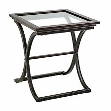 Black Vogue End Table Metal With Glass Top Distressed Copper CK9942 SEI