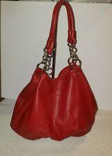 NWOT Large Red Pebble Faux Vegan Leather Handbag Bucket Bag