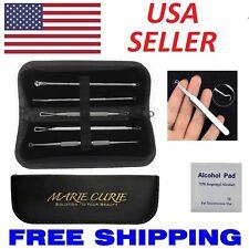 6Pcs Blackhead Pimple Blemish Acne Extractor Remover Tool Kit Curved Tweezers