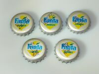 LOT of 5 Vintage 90s. Collectible Fanta Lemon bottle cap Cyrillic Inscription