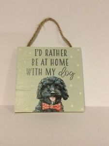 Square wooden hanging plaque bichon frise/ cocker poo gift cute