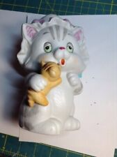 Vintage Lefton Grey Tabby Cat With Yellow Tab Kitten