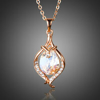 Rose Gold Plated Made With Clear White Swarovski Crystal Chain Necklace Pendant