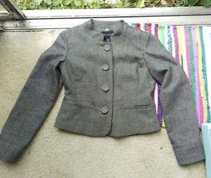 Banana Republic Wool Blend Gray Cropped Blazer, Size 4