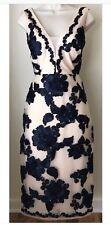 Nicole Miller New York Floral-Soutache Dress beige black Size 12 Stunning!