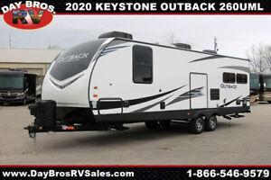 20 Keystone Outback 260UML Travel Trailer Towable RV Camper Slide Sleeps 6