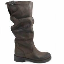 Stivali Biker Boots Donna Alti Arricciati Vera Pelle Nabuk Marrone Made in Italy
