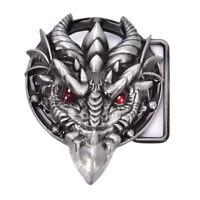 Hommes boucle de ceinture 7.3 cm tête de dragon noir motif bronze métal I