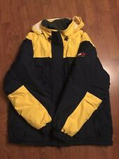 VINTAGE Tommy Hilfiger Blue Yellow Puffer Down Feather Jacket Men's X-LARGE -EUC
